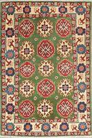 Geometric LIGHT GREEN Kazak Pakistan Oriental Hand-Knotted Wool Kitchen Rug 3x5