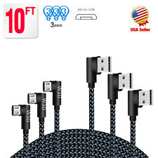 3Pack 10ft long 90 Degree Right Angle Micro USB Charger Cable Android Samsung LG