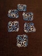 Christmas Ornaments Handmade  Set Of 6 Variegated Colors Blue & White
