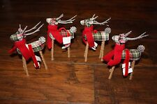 Pottery Barn Plaid Fabric Reindeer Ornament Set of 4 - SMALL  NEW W/ TAGS