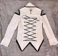 #404 ACDC Rag Hot Topic White Black Lace Long-Sleeve Gothic Corset Style EUC