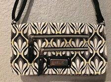 Relic by Fossil Grey Yellow White Black Print Crossbody Purse