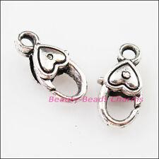 8Pcs Tibetan Silver Smooth Heart Bracelet Lobster Clasp Connectors 9×17.5mm
