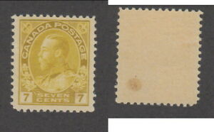 Mint Canada 7 Cent Olive Bistre KGV Admiral Stamp #113a (Lot #18648)