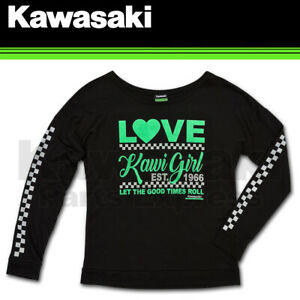 BRAND NEW GENUINE KAWASAKI WOMEN'S KAWI GIRL SWEATSHIRT K019-1510-BK