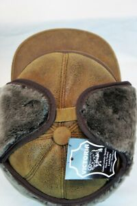 2 colors 100% REAL Sheepskin Shearling Leather Trapper Hunting Aviator Hat M-3XL