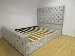 Stylish Florida Crushed Velvet Bed Upholstered Bed Chesterfield Bed in All Sizes