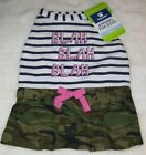 Top Paw Camo & Stripes w Pink Bow Blah Blah Blah Dog Apparel Dress, Size Small