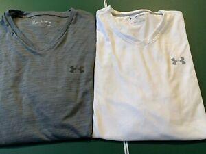 LOT of 2 Big Mens Under Armour LOOSE3 XL UA Tech Shirts V Neck White & Gray