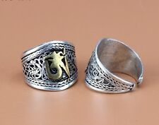 Wide Adjustable Tibetan Lotus Filigree Mantra Golden OM Weaving Amulet Ring