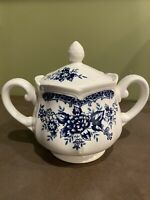 BLUE CARNATION IRONSTONE MADE IN JAPAN SUGAR BOWL POT LID  #4235 FLORAL