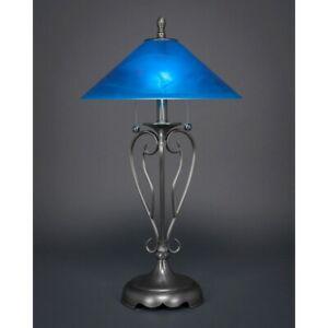 Toltec Lighting Olde Iron Table Lamp, 16' Blue Italian Glass - 42-BN-415