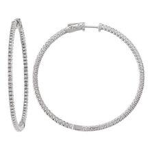 14k White Gold Diamond Huggies, 1.60tdw (NEW hoop earrings design, 50mm) 4461