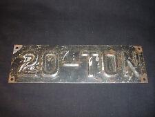 Old Vtg  Collectible Old Vtg 20-Ton Stamped Metal Plate
