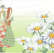 2 Serviettes en papier Fée des Pâquerettes Decoupage Paper Napkins Daisies Fairy