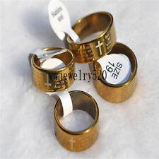 Wholesale Bulk 10X Gold Cross Christian Prayer Stainless Steel Man's ring FREE