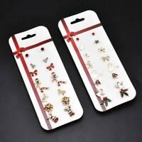 6/8Pair Set Christmas Tree Snowman Deer Bell Xmas Ear Stud Earrings Jewelry Gift