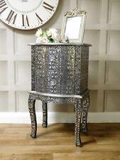 Silver embossed black bedside lamp table cabinet bedroom storage 2 drawer