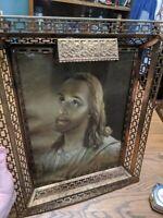 Vintage Gold Cut Brass Deep Picture Frame Jesus Christ L. Jambor Print Rare mcm