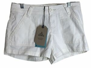 "prAna Size 2 NWT Womens White Tess Organic Cotton Shorts 3"" Inseam NEW"