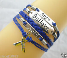 Hope/Believe/Faith/Breast Cancer Awareness Ribbon Charms Leather Bracelet - Blue