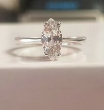 Marquise 9ct white gold perfect affordable engagement ring size S
