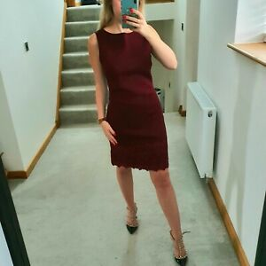 Reiss UK 10 Wine Red Dress Neoprene Thick Mini Lace Maroon Dark Issy Claret