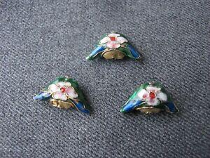 3 Vintage nice shape cloisonne enamel flower double sided beads jewelry crafts