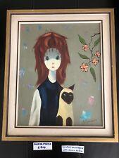 Beautiful Vintage Mid Century Oil Painting Modern Art Woman Cat Portret Retro