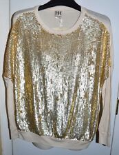 NWT HAUTE HIPPIE Gold Sequin Sweater Shirt Top Size Small Retail $595 DEVINE