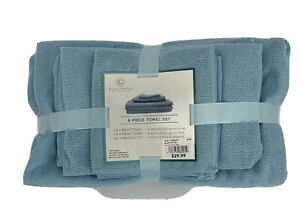 6 Pc Towel Set Blue Polyester Blue Lagoon Spa Collection 2 Fast Dry Dorm