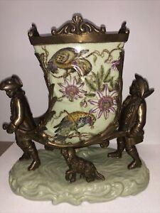 Mark Roberts #14-50960-BRD Enameled Porcelain & Bronze Men & Dog Figurines Vase