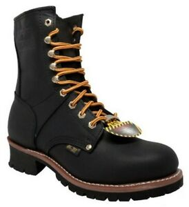 "AdTec Mens 9"" Logger Steel Toe Work Boot Full-Grain Leather Job Site Black 1428"