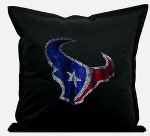 "Houston Texans Cover Sofa Throw Pillow Case 18""X18"" Chair Couch Rhinestone"