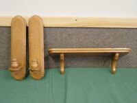 Solid Oak Set of 3 Sconces and Wood Shelf Home Interiors Gifts GTC Vintage