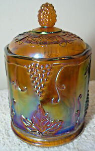 """Vintage 1970s INDIANA GLASS 7"""" Small Size Canister with Lid Marigold Harvest"""