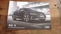 AUSTRALIAN CAR SALES ADVERTISNG BROCHURE, AUDI RS 3 SEDAN 2017 MODEL