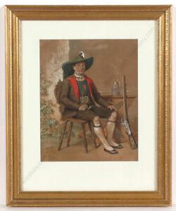 """Franz Schams (1823-1883) """"Portrait of a Tyrolean shooter"""", watercolour, 1857"""