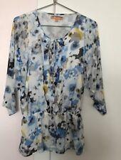 Ellen Tracy Top Blue/ Black/ White print Tie Neck Tunic Top Blouse - Womens sz M