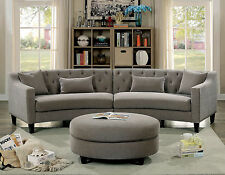 Living Room Furniture Gray Unique Sectional Sofa Linen Tufted Couch Solid Wood