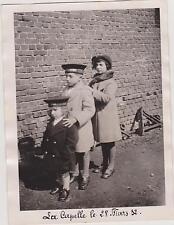 PHOTO ANCIENNE La Capelle 1932/TROIS  ENFANTS en MANTEAUX/CASQUETTE/FOURRURE/