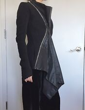 STUNNER Black Rick Owens Leather Double Zip Panel Tailored Jacket Blazer Wool