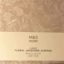 "M&S Lined Floral JACQUARD CURTAIN Pencil Pleat L-90"" W-63"" Pink Rrp £189"