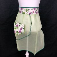 Vintage Organdy Half Waist Apron Sheer Fashion Green Purple Floral Pocket VTG