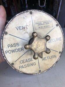 Vintage Henschel Corp. Brass U.S. Navy Ship's Alarm Bell Vent Secure Return ++