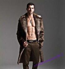 Mens Faux Fur Winter Warm Long Jacket Trench Coat Thicken Overcoat Outwear Parka