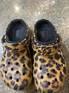 Unisex Crocs Classic Lined Animal Print Clog Leopard Black Size Womens 6 Mens 4
