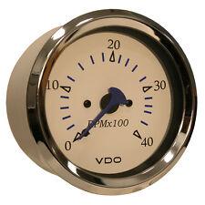"""VDO Allentare White 4000RPM 3-3/8"""" (85mm) Diesel Tachometer (Alternator) - 12V"""