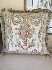 "THROW PILLOW LARGE 21"" X 21""  AUBUSSON SILK TAPESTRY FEATHER DOWN INSERT"