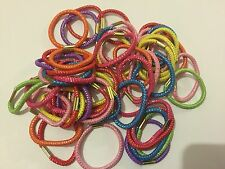 100 HAIR ELASTICS THIN Bright Coloured Bobbles Hair Bands Ponios Gym School